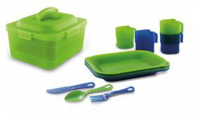 Enders Camping ALL IN 1 25- teiliges Outdoor Geschirr-Set inkl. Besteck