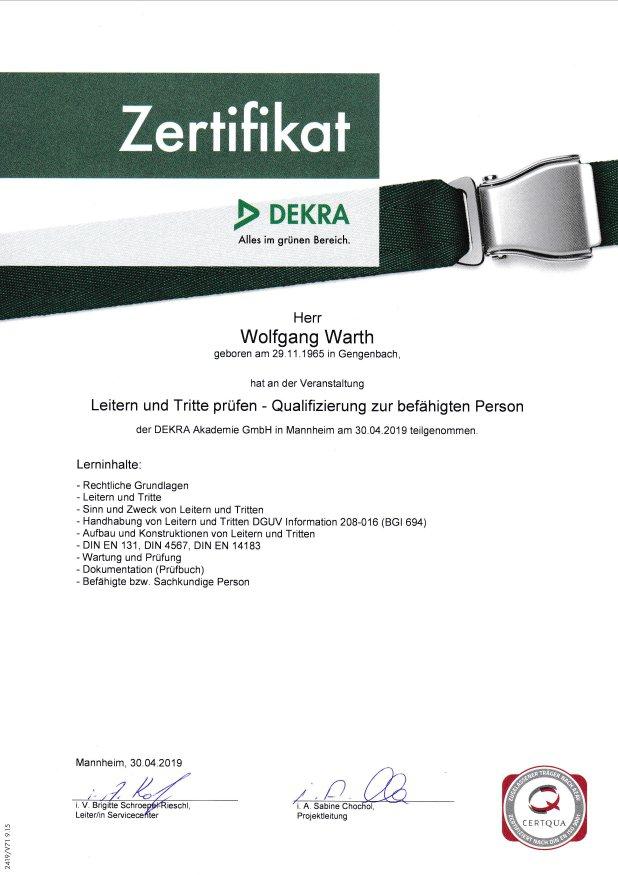 DEKRA Zertifikat Leitern und Tritte prüfen