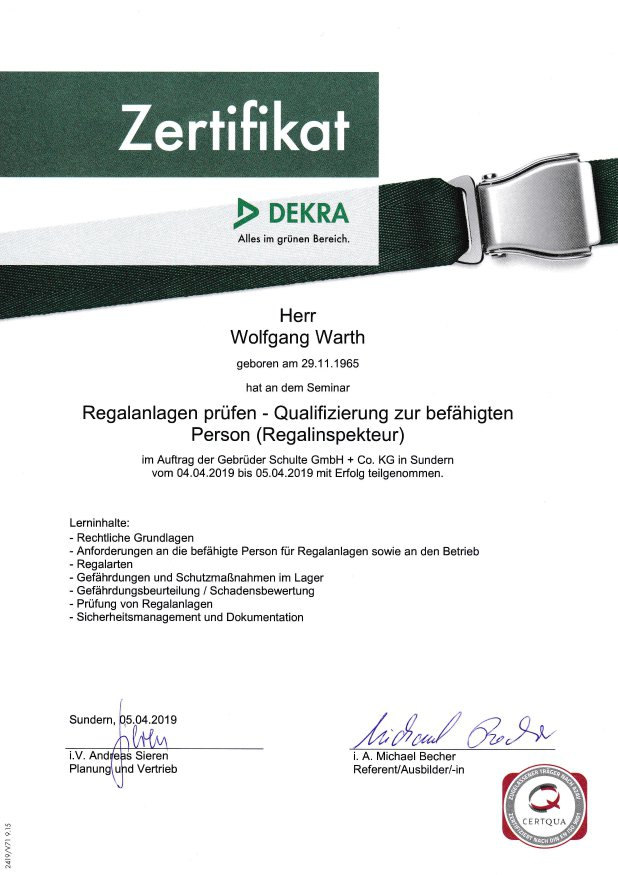 DEKRA Zertifikat Regalprüfung