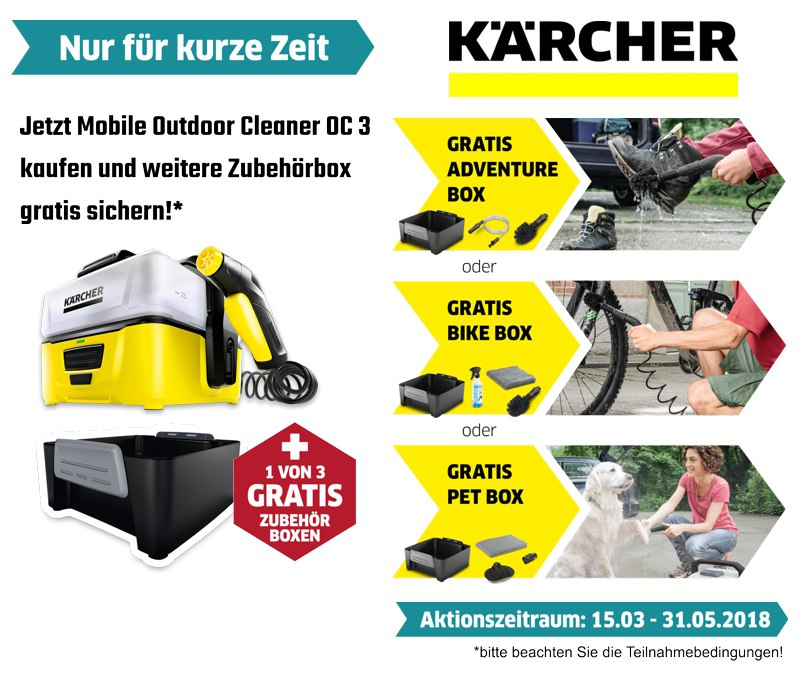 Kärcher Aktion Mobile Outdoor Cleaner OC 3 + gratis Zubehörbox